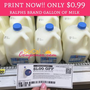 photo about Ralphs Printable Coupons identify PRINT By now Operate!! Just $0.99 Ralphs Brand name Gallon of Milk or