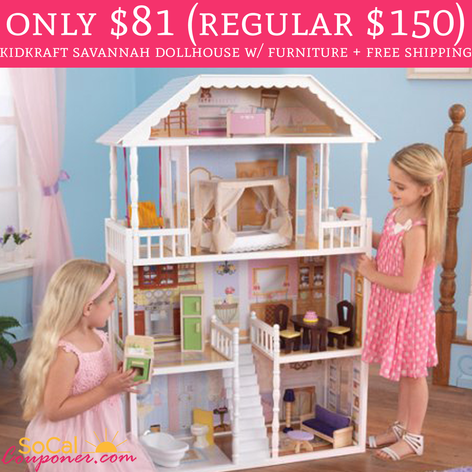 Free Shipping On Furniture: WOW! Only $81.20 KidKraft Savannah Dollhouse W/ Furniture