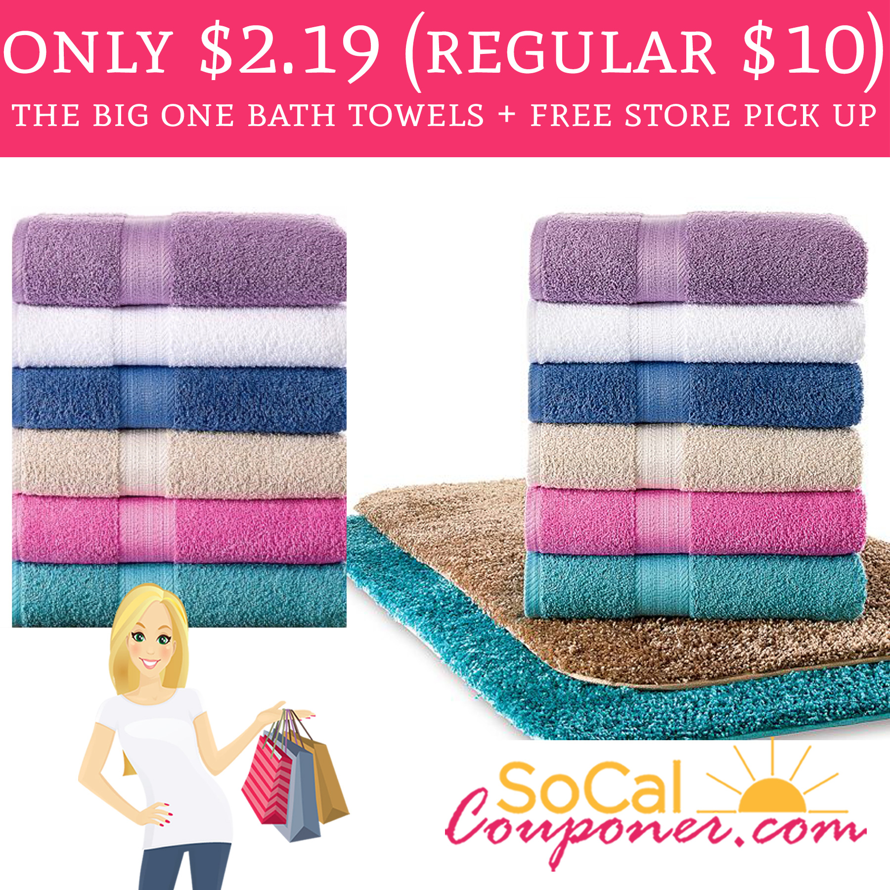 Wow Only 2 19 The Big One Bath Towels Free Store Pick