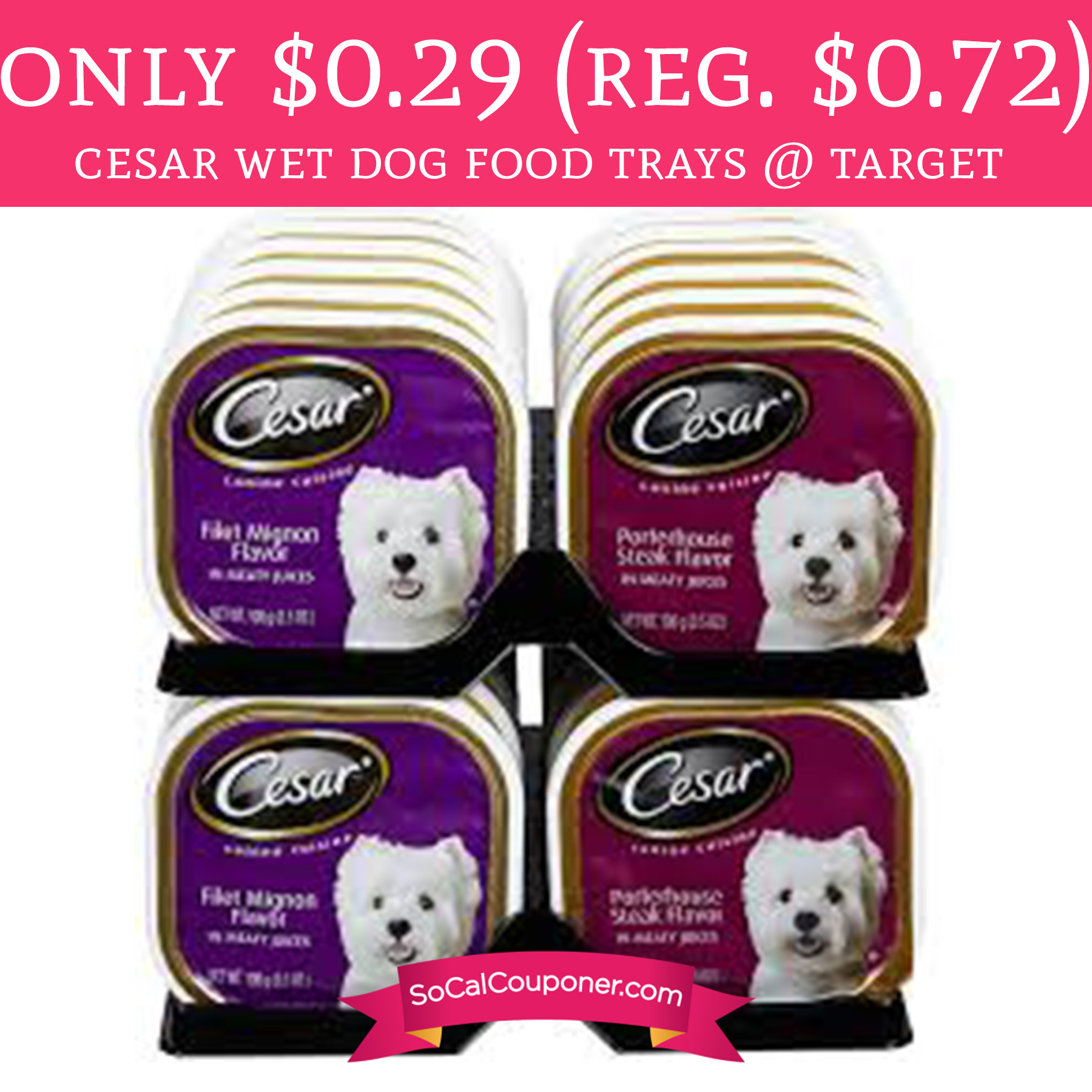 The product affected was the Classics Filet Mignon wet dog food sold in ounce trays and variety packs. Save Money with Cesar Dog Food Coupons One of the reasons Cesar dog food is so popular among pet owners is that it is inexpensive and easy to find.
