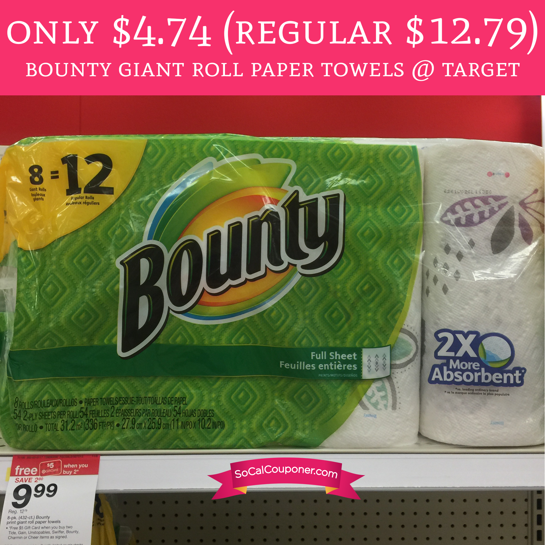 Only 4 74 Regular 12 79 Bounty Giant Roll Paper Towels