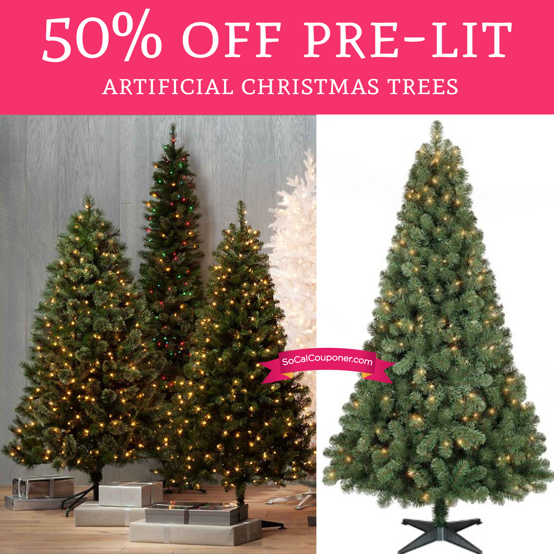50 Off Pre Lit Artificial Christmas Trees Free Shipping