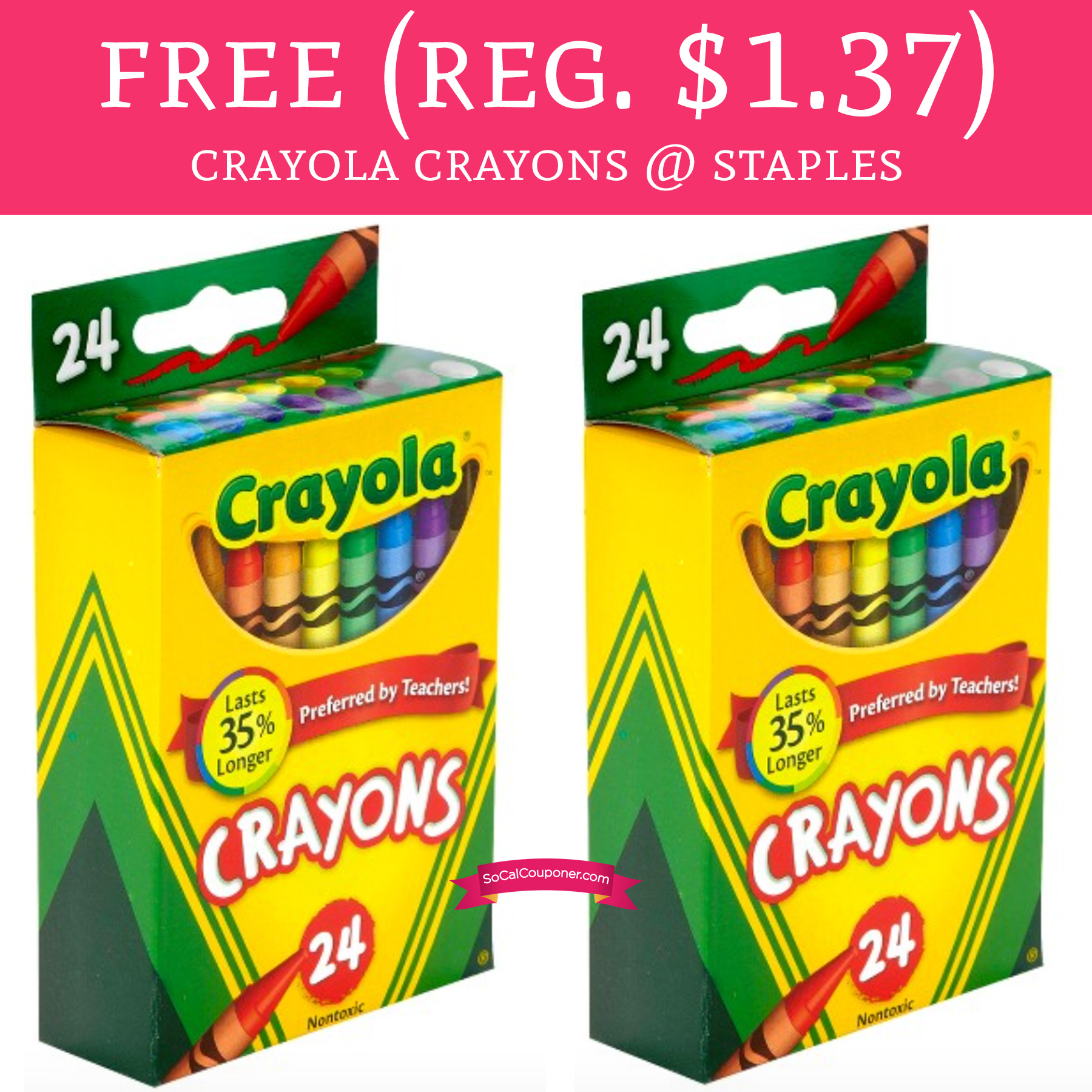 free regular 137 crayola crayons 24 count staples deal hunting babe