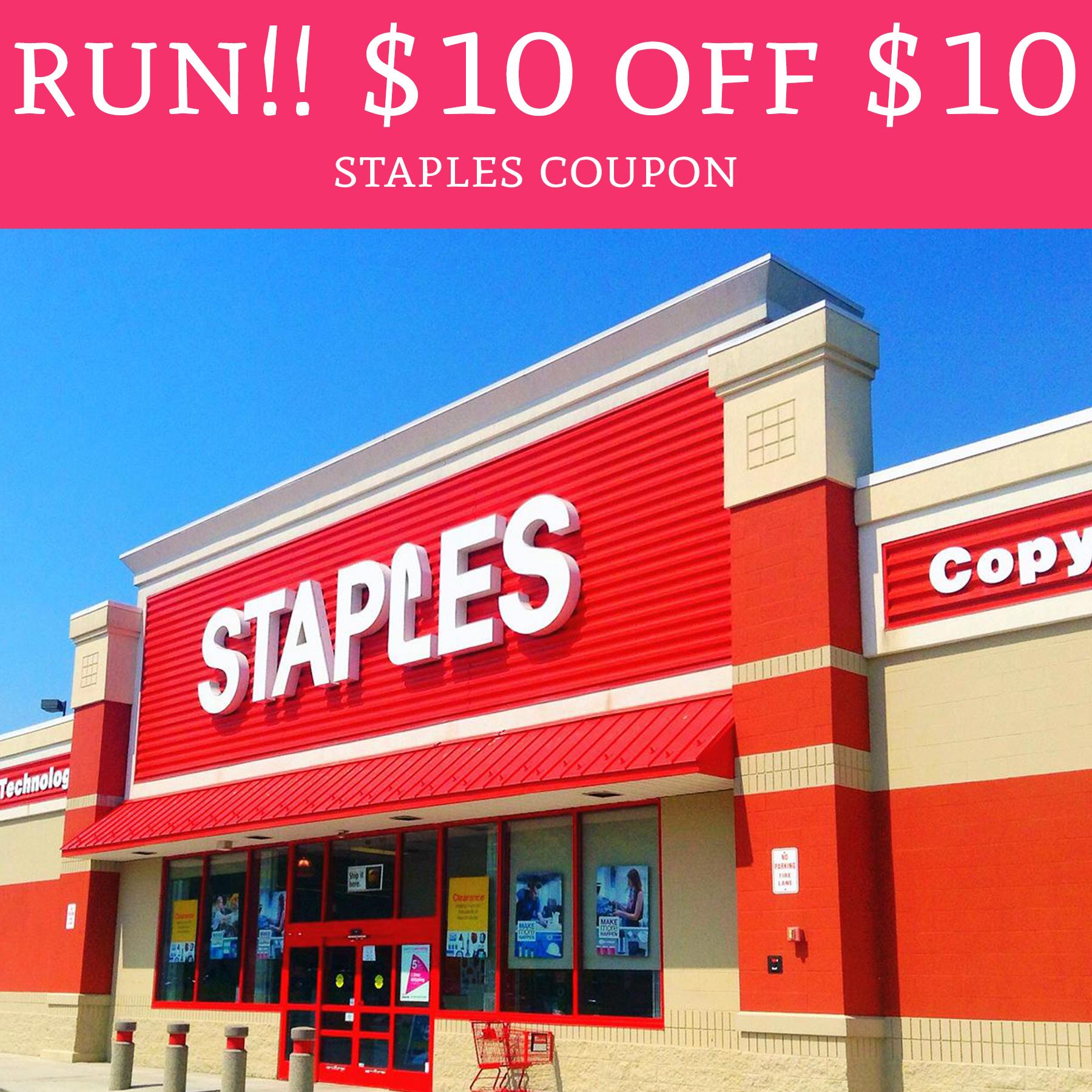 run   10 off  10 staples coupon   free stuff