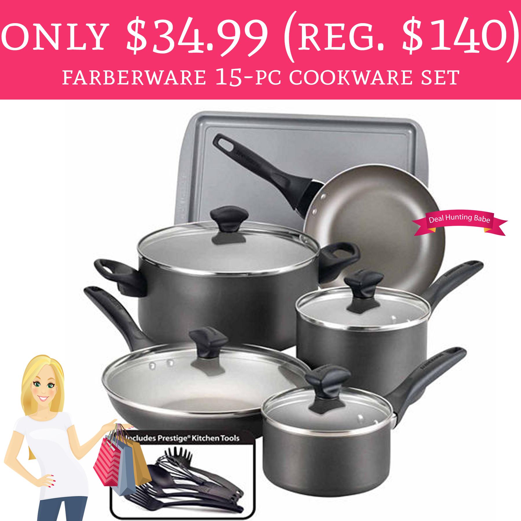 Only $34.99 (Regular $140) Farberware 15-pc. Cookware Set ...