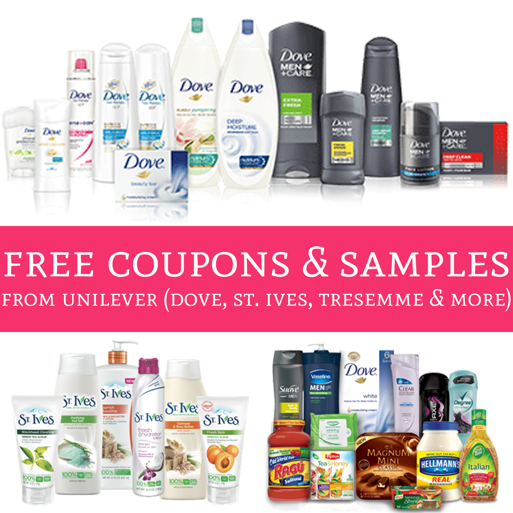 Hurry Free Exclusive Coupons Amp Samples From Unilever