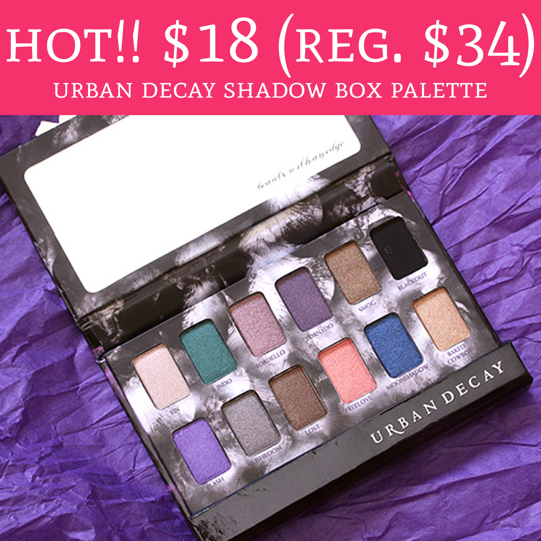 Hot only 18 regular 34 urban decay shadow box palette for Palette 34