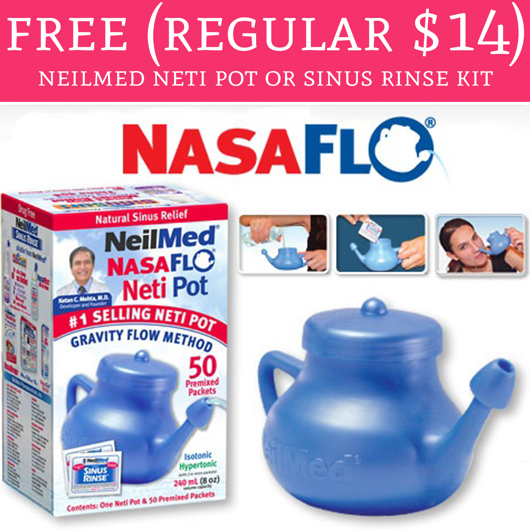 Hot Free Regular 14 Neilmed Neti Pot Or Sinuse Rinse -7760