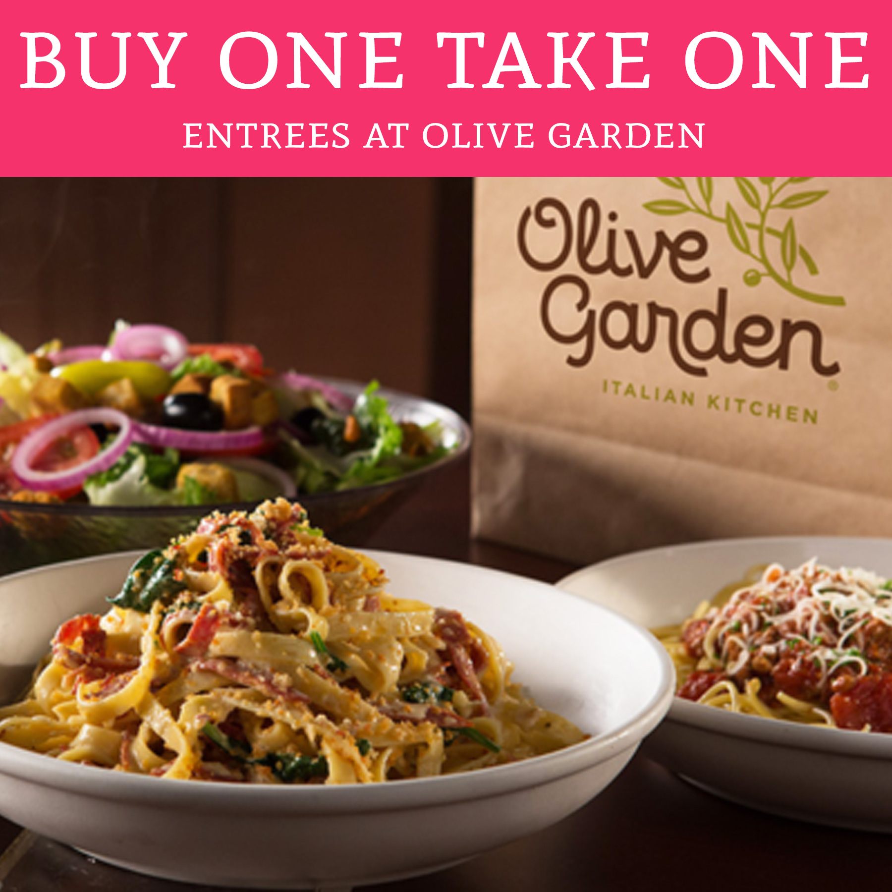 YUM! Buy One Take One Entrees @ Olive Garden - Deal Hunting Babe