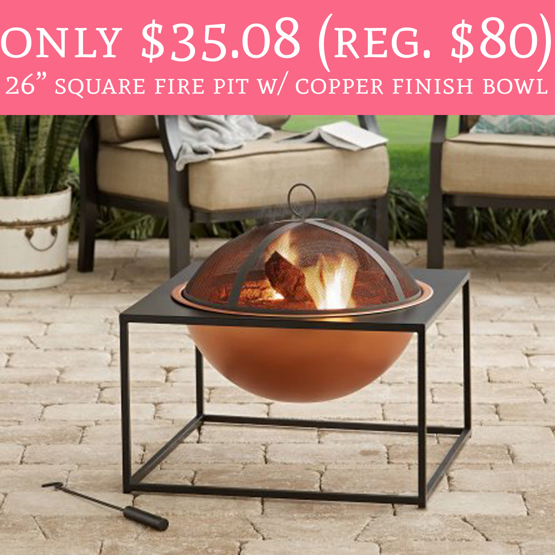 """Only $35.08 (Regular $80) 26"""" Square Fire Pit w/ Copper ..."""