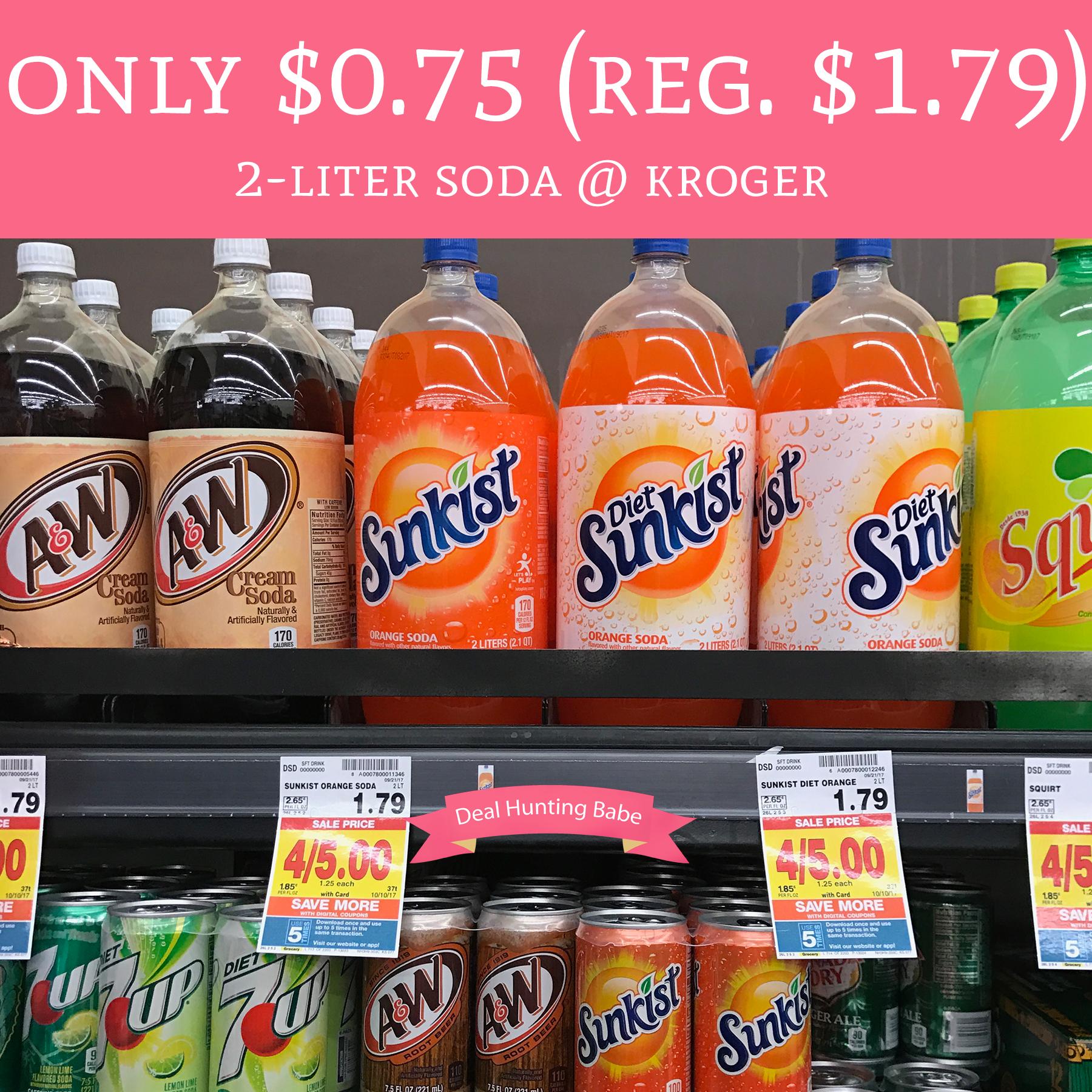 Only $0 75 (Regular $1 79) 2-Liter Soda @ Kroger - Deal Hunting Babe