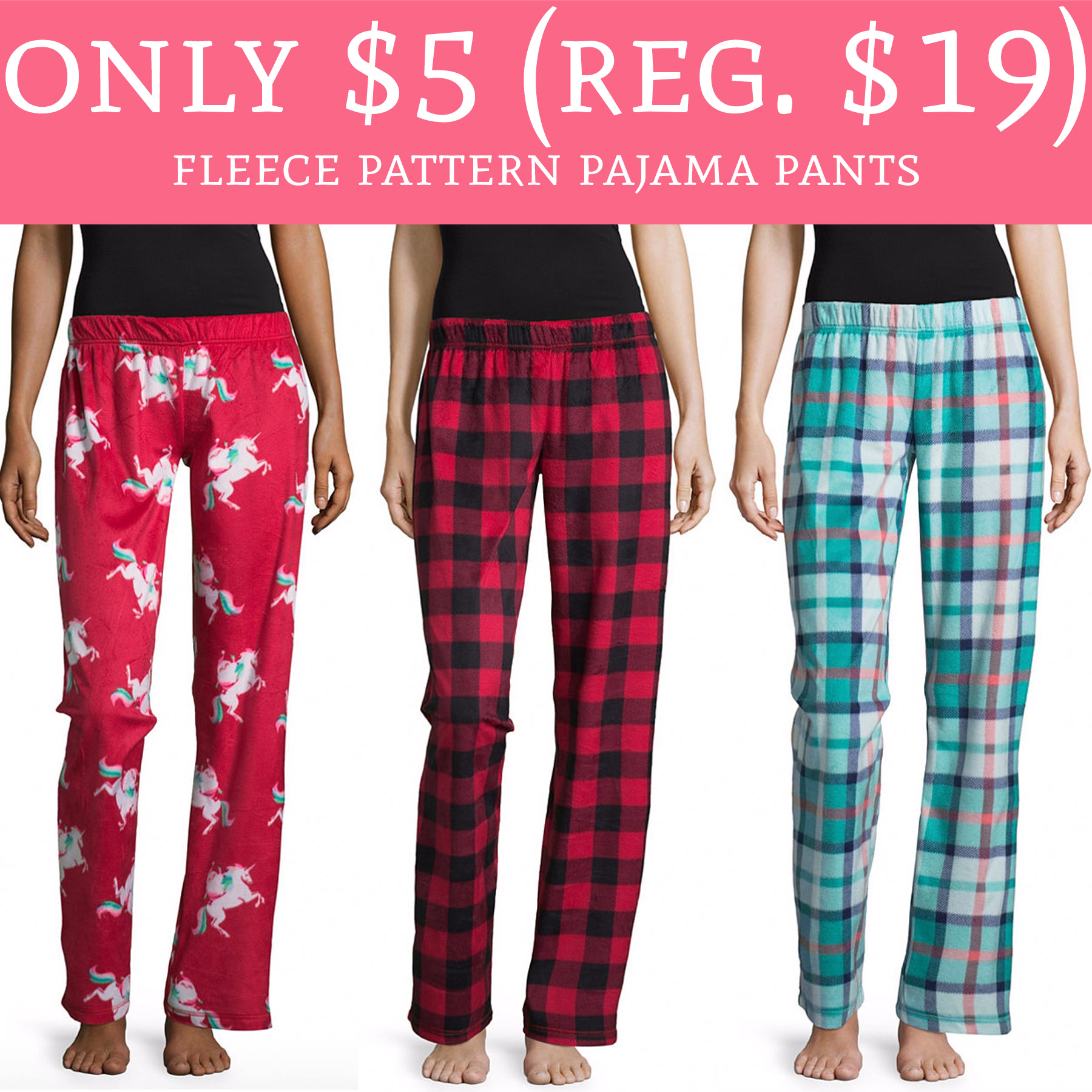 Whoa Only 5 Regular 19 Fleece Pattern Pajama Pants