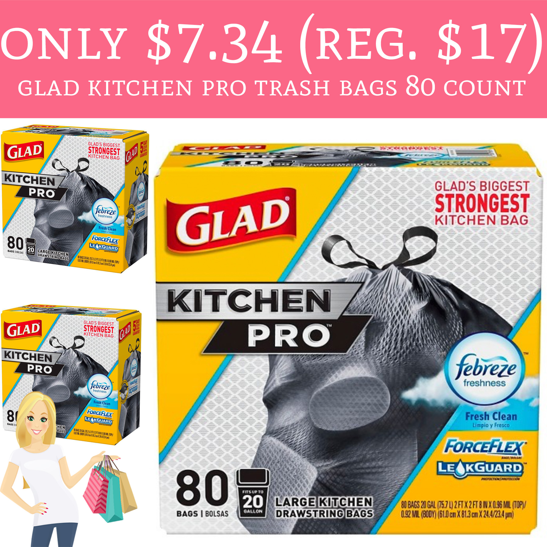 Only 7 34 Regular 17 Glad Kitchen Pro Trash Bags 80 Count Deal Hunting Babe