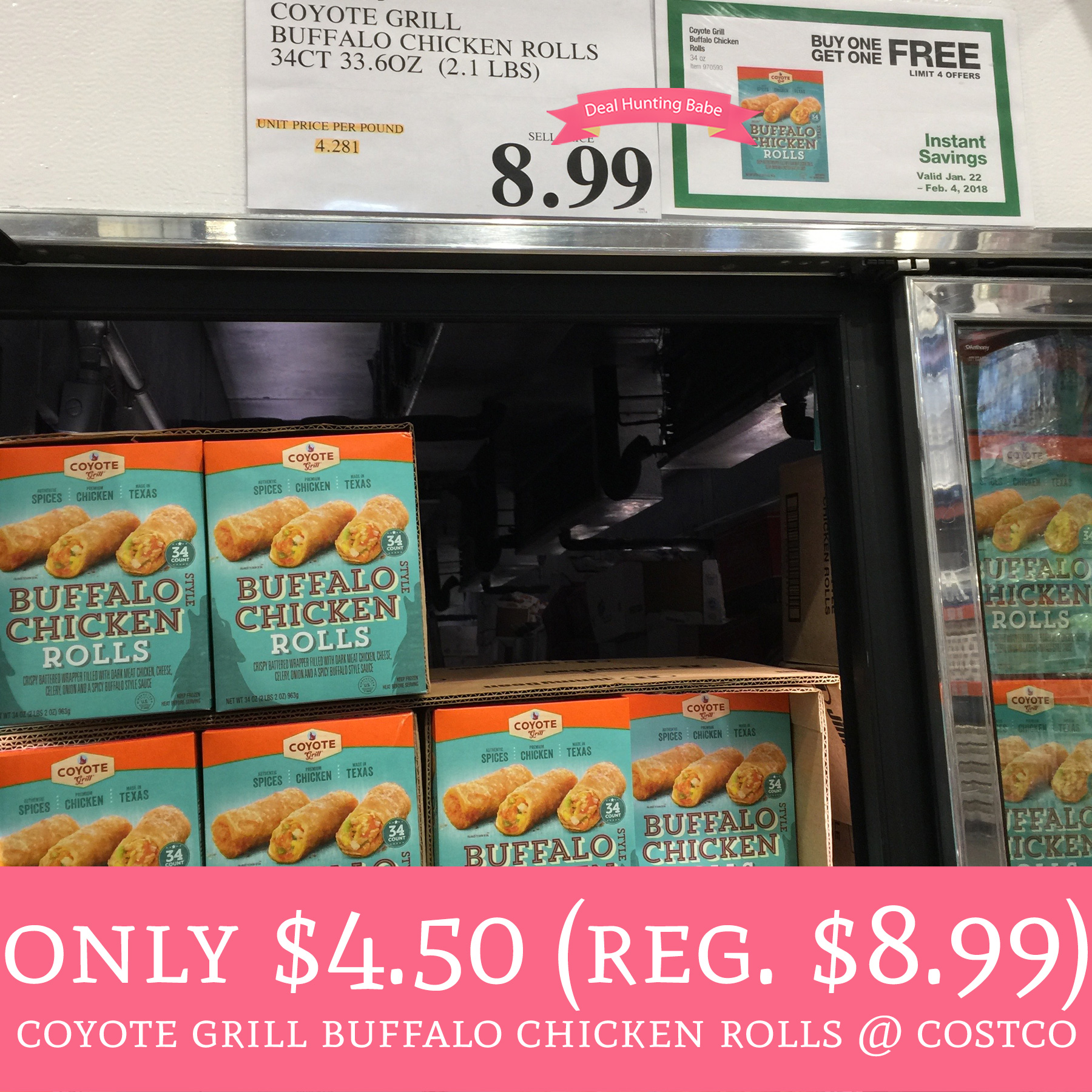 Only 4 50 Regular 8 99 Coyote Grill Buffalo Chicken Rolls Costco Deal Hunting Babe