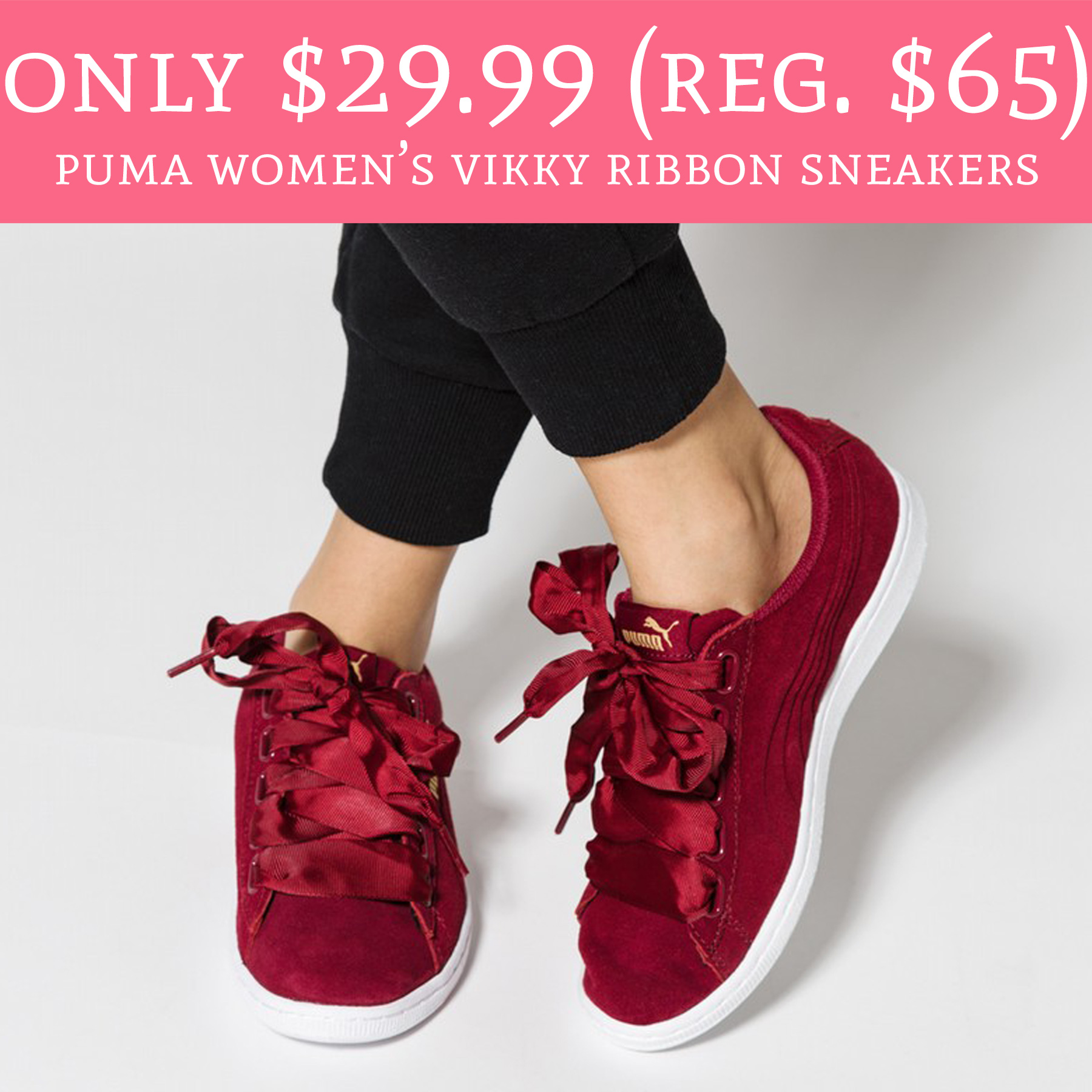 4e2582f422 Love these! Head over to Macy's.com where you can score Puma Women's Vikky  Ribbon Sneakers ...