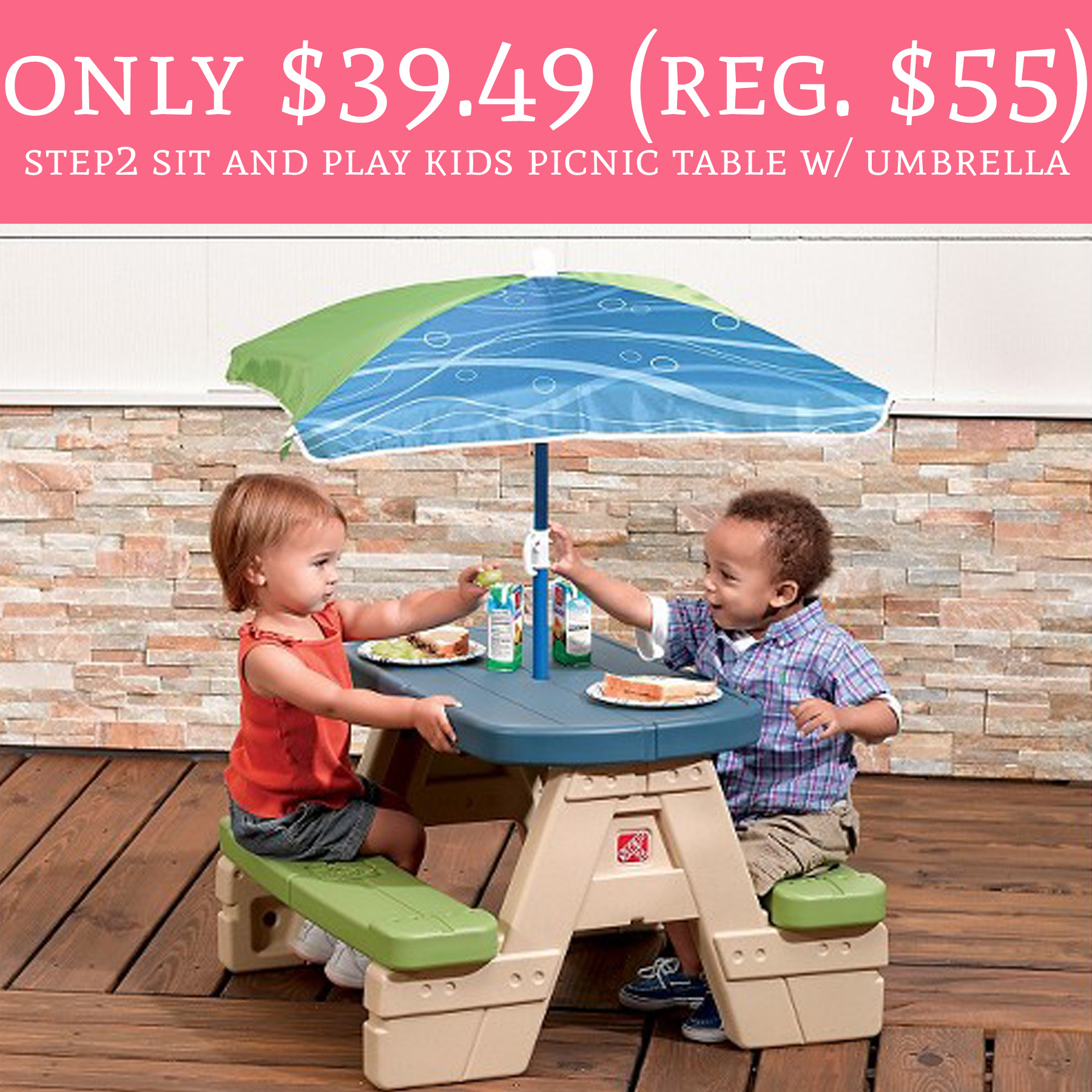 Rare savings regular 55 step2 sit play kids - Children s picnic table with umbrella ...