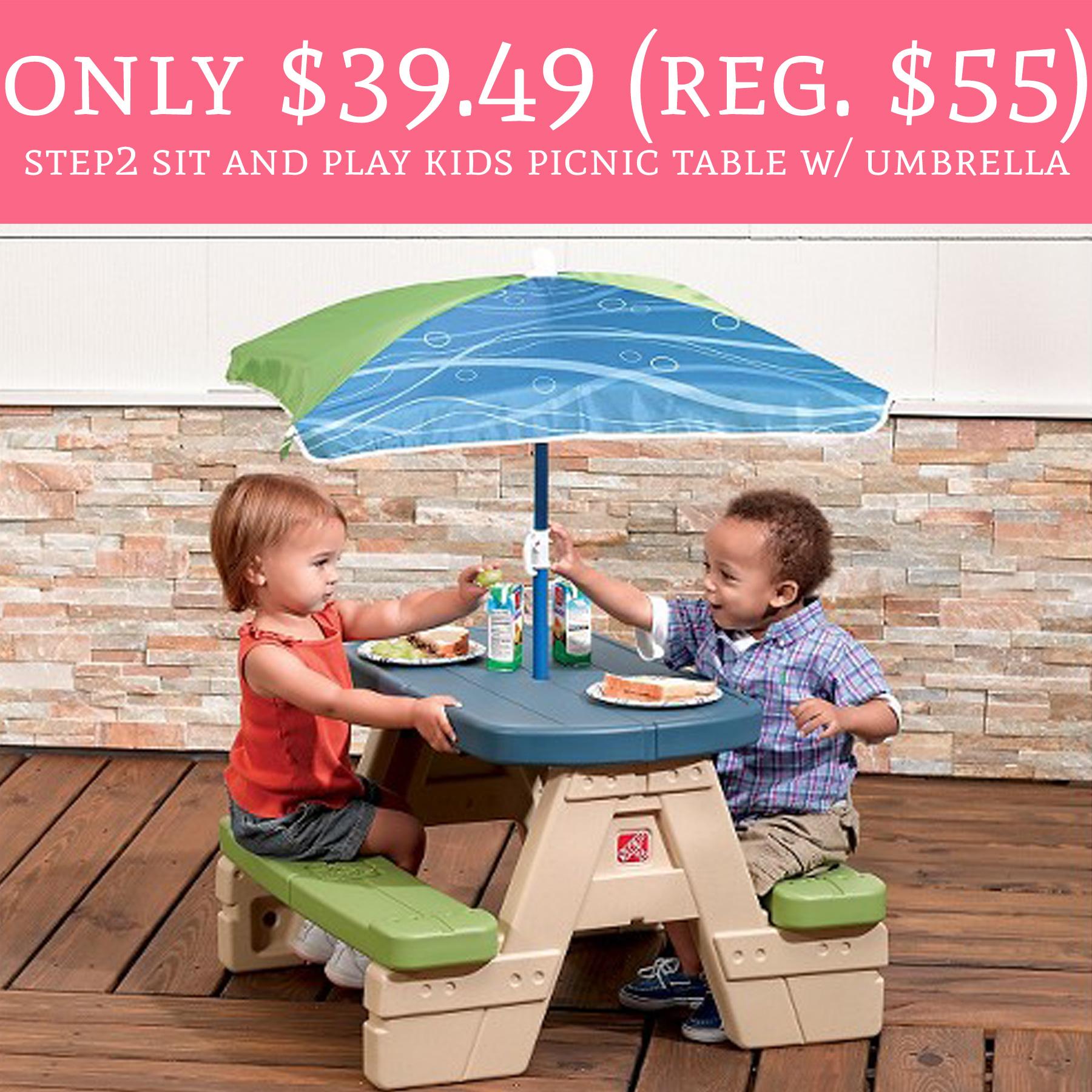 Rare savings regular 55 step2 sit play kids - Children s picnic table with umbrella ...