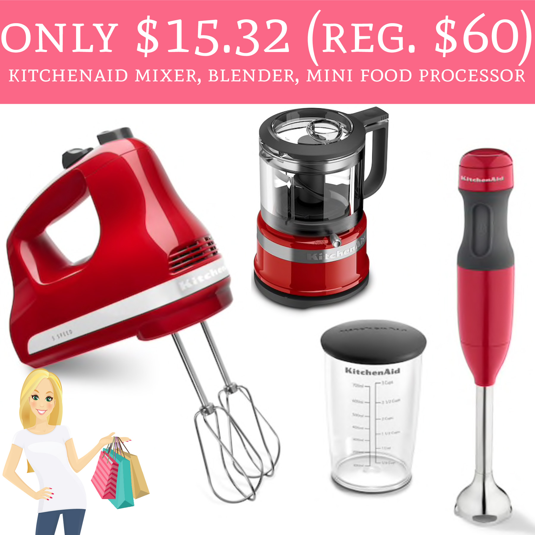 Only $15.32 (Regular $60) KitchenAid Hand Mixer, Hand Blender & Mini ...