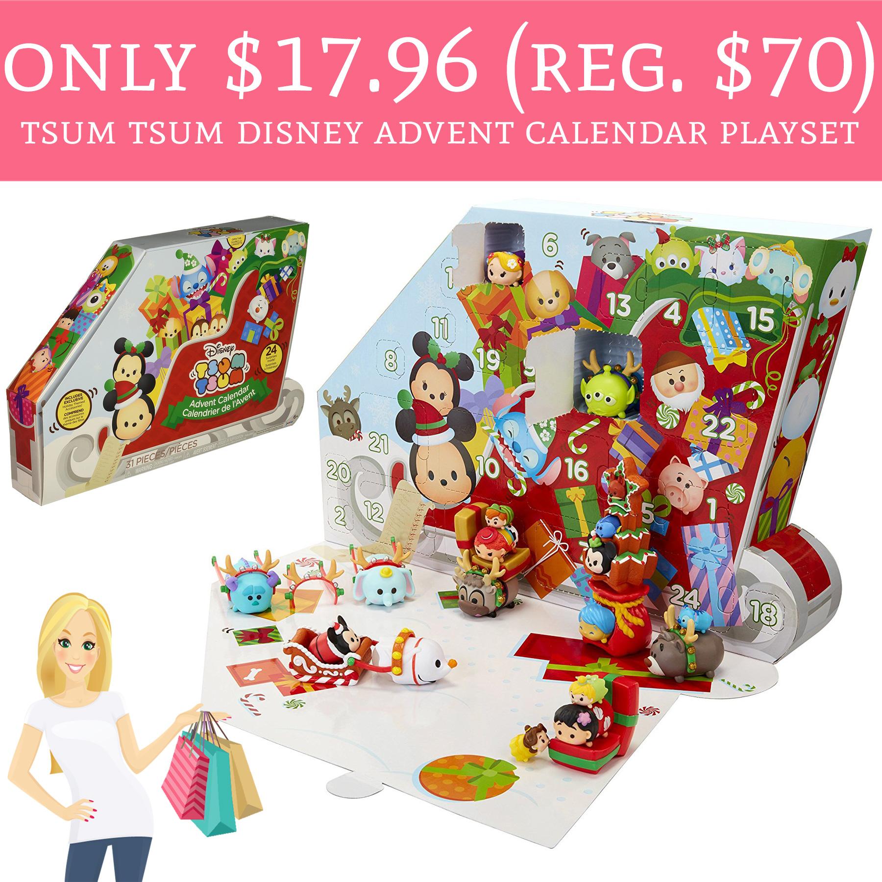 only 17 96 regular 70 tsum tsum disney advent calendar playset deal hunting babe