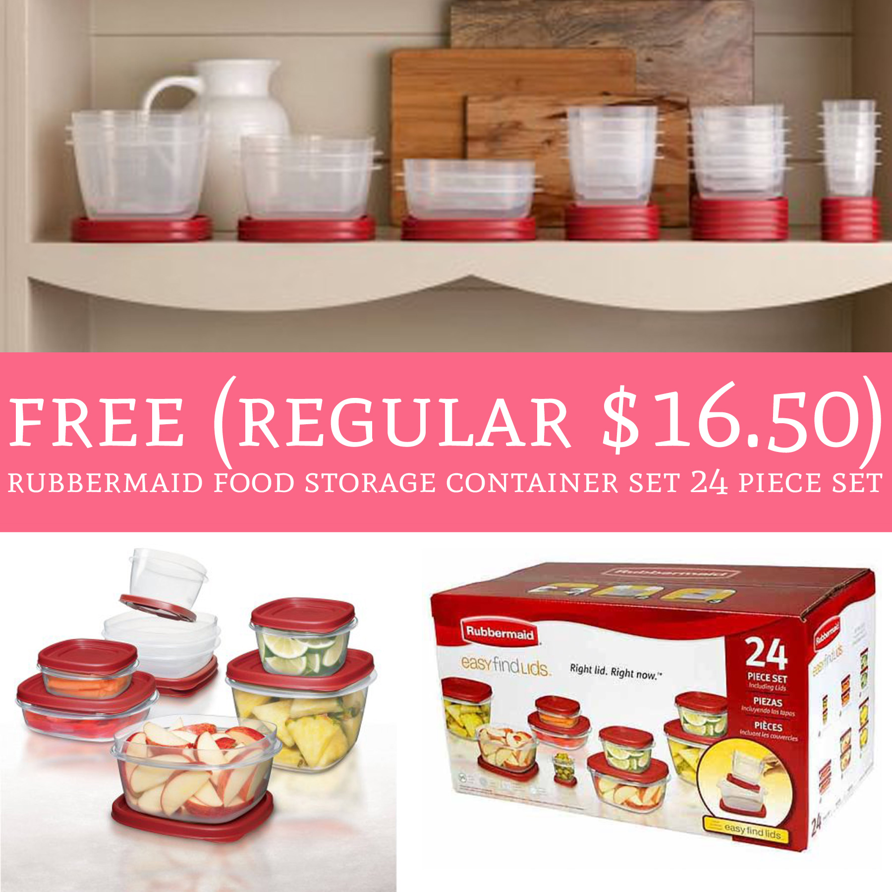 RUN FREE Reg 1650 Rubbermaid Food Storage Container Set 24