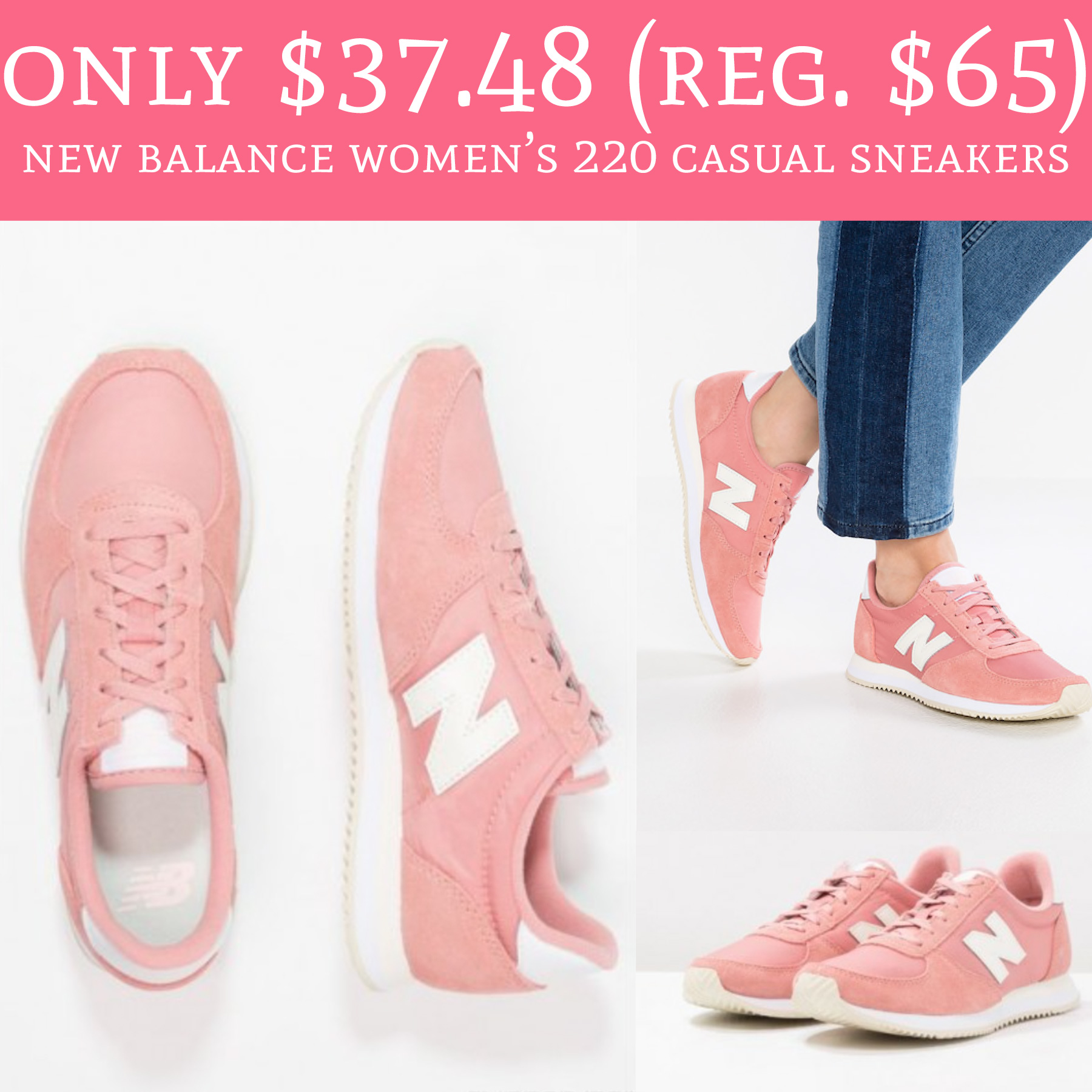 Only $37.48 (Regular $65) New Balance Women's 220 Casual