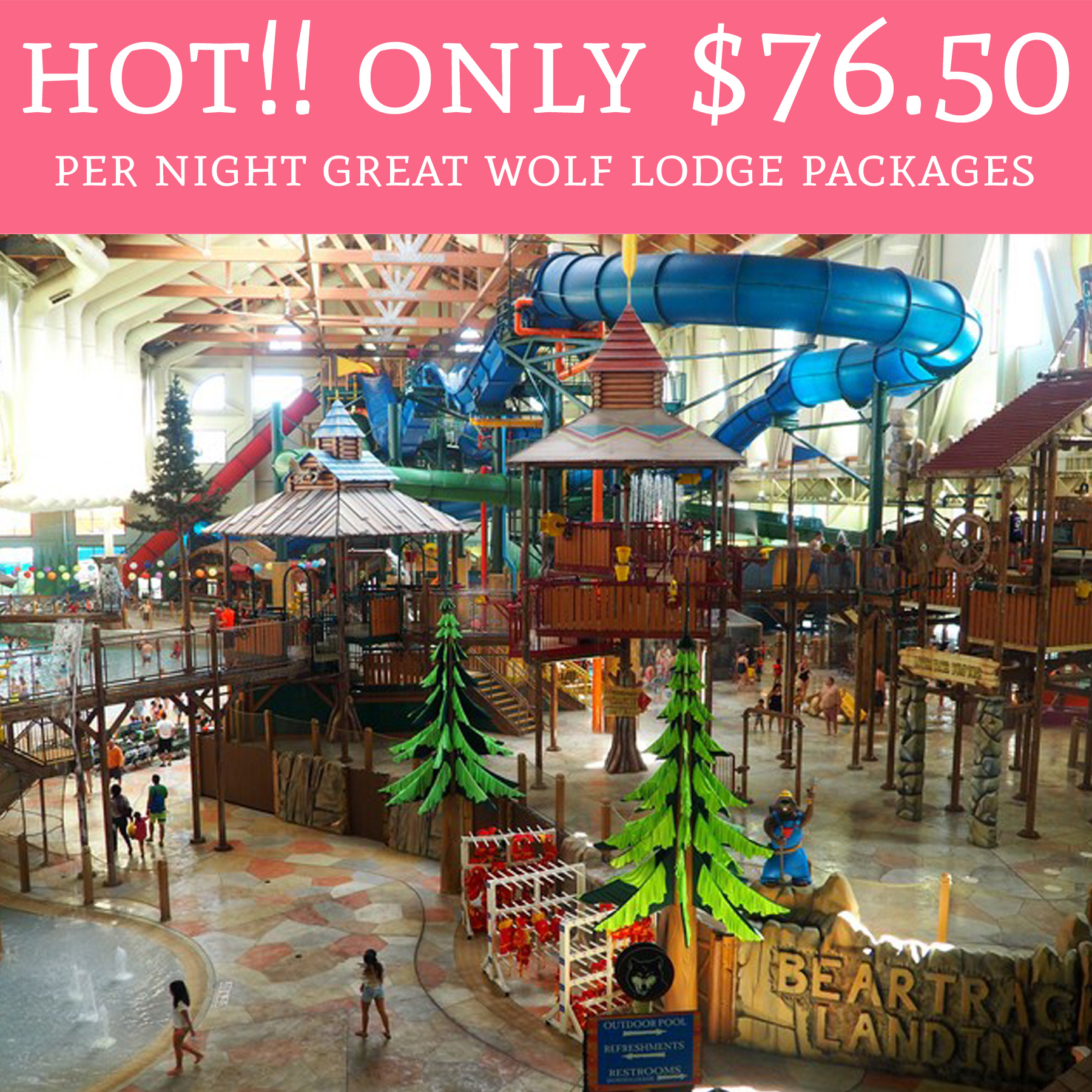 Today 6/17 Only!! $76.50 Per Night Great Wolf Lodge
