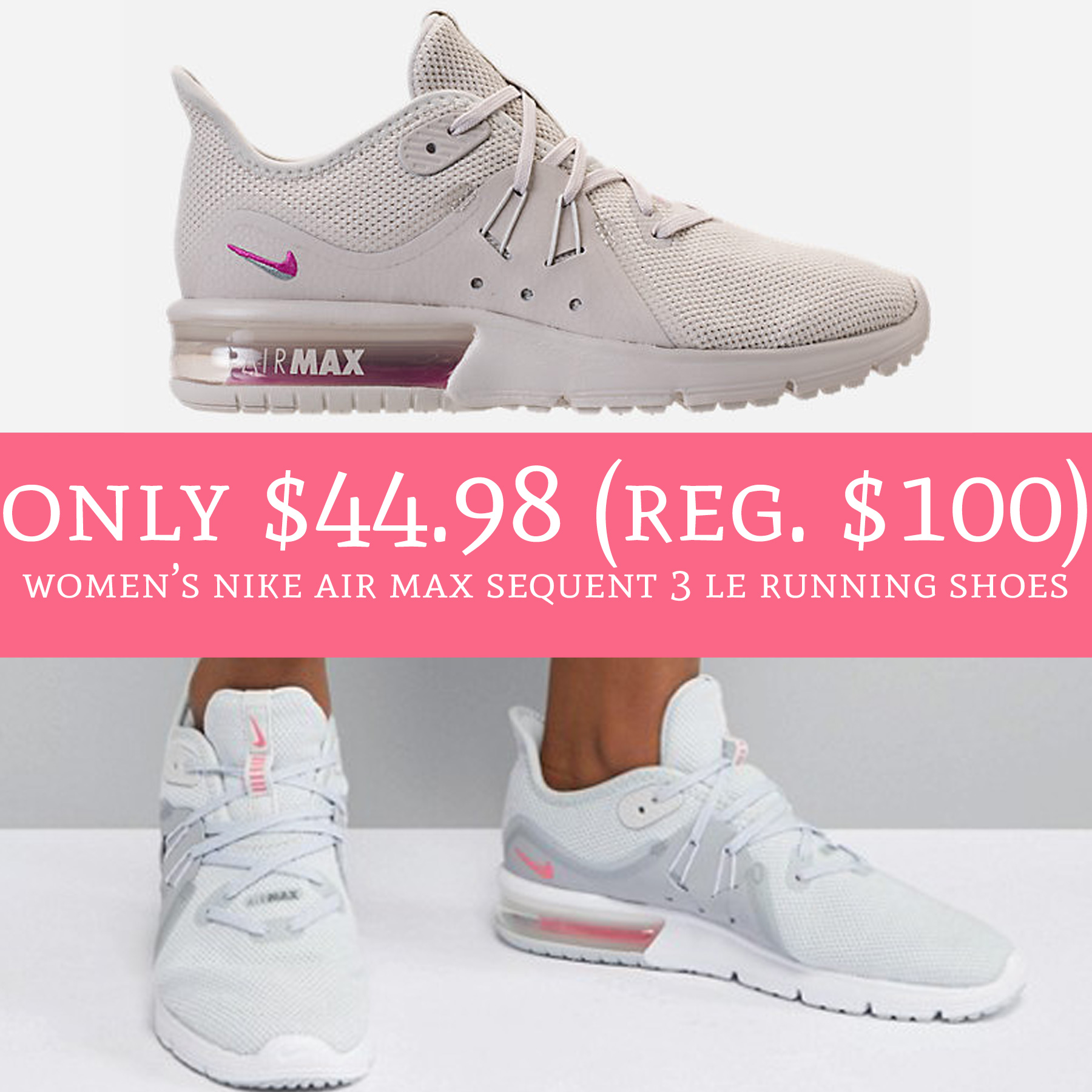 new products 52d86 2ed05 $44.98 (Reg. $100) Women's Nike Air Max Sequent 3 LE Running ...