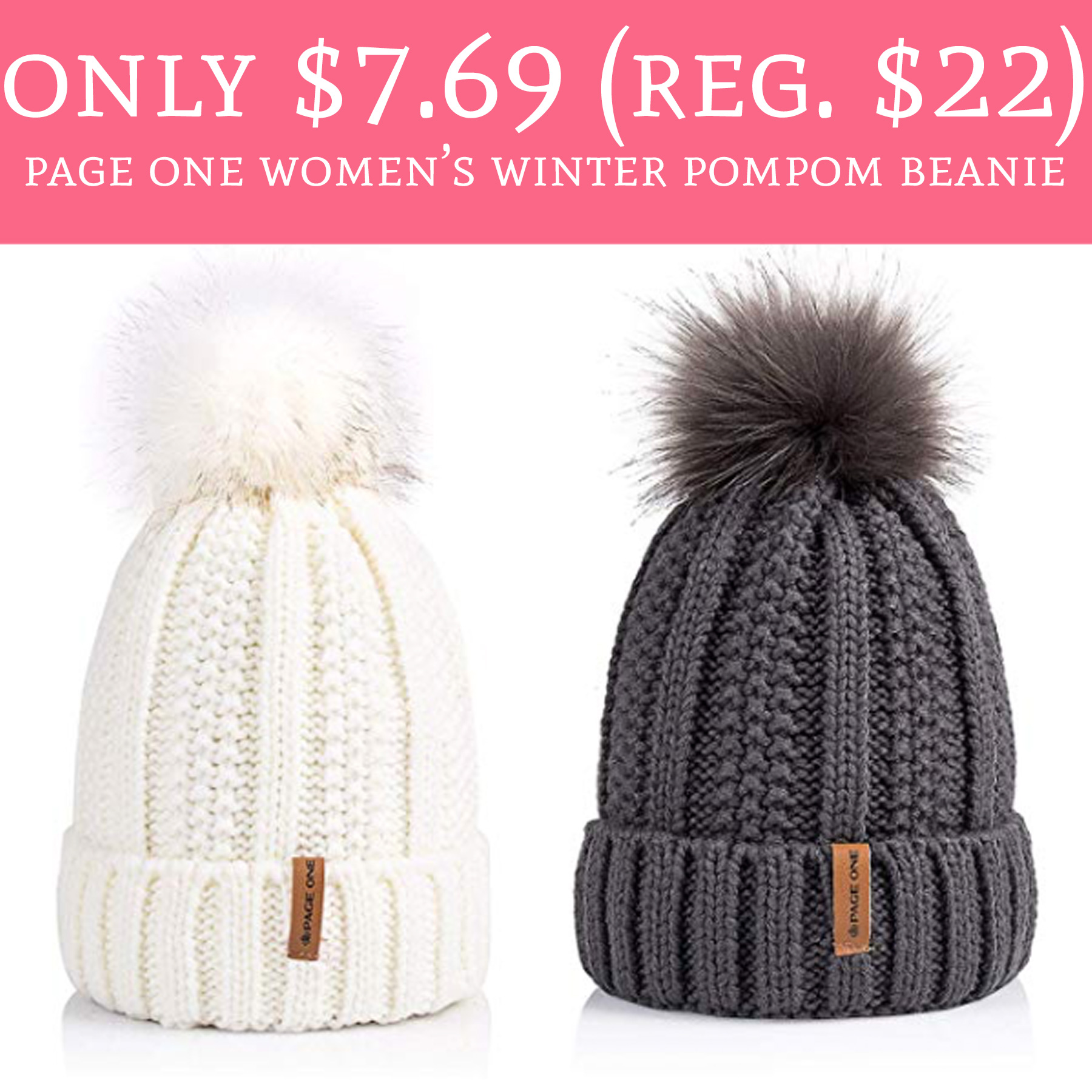 a1234adc5a9 Only  7.69 (Regular  22) Page One Women s Winter Pompom Beanie ...