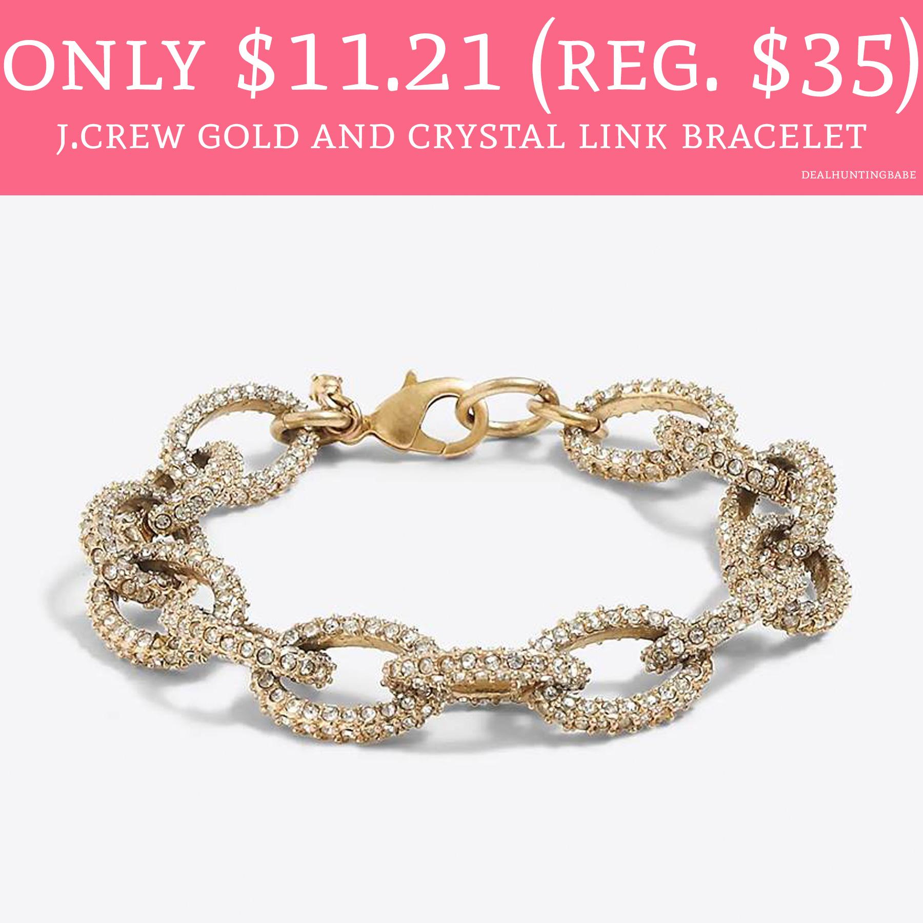 J Crew Gold Crystal Link Bracelet