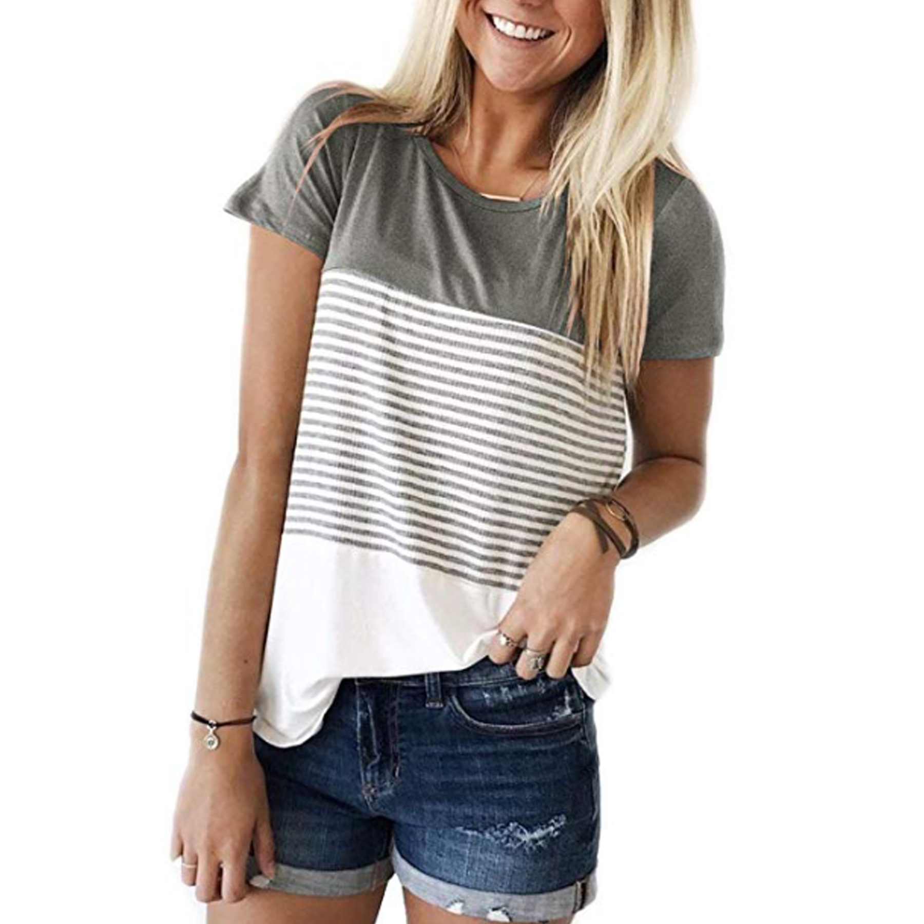 c852a8ad6ff1 40% Off Women's Short Sleeve Striped T-Shirt - Deal Hunting Babe