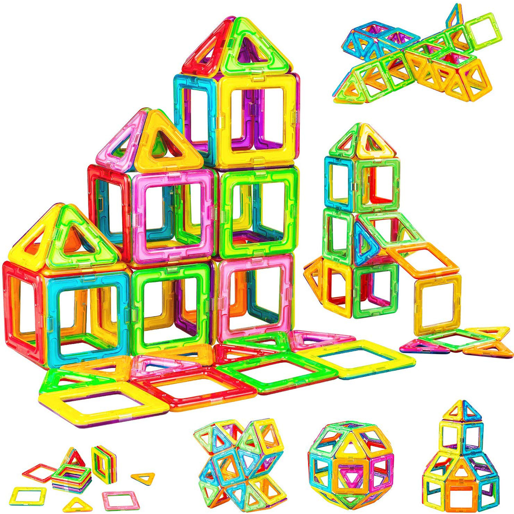 WHIMSWIT Magnetic Blocks, 65 Pieces